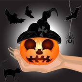 Terrible Pumpkin on hand of witch — Stock Vector