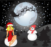 Santa, Snowman and Snow Maiden — Vector de stock