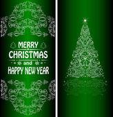 Christmas card with a Christmas tree — Stock Vector