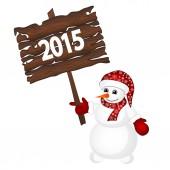 Snowman in santa hat — Stock Vector