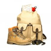Vintage backpack with hiking boots, map and bottle — Stock Photo