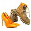 Vintage mens boots and red platform high heels shoes — Stock Photo #73313023