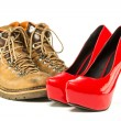Vintage mens boots and red platform high heels shoes — Stock Photo #73313057