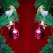 Closeup Christmas ball on red background from Christmas tree — Stock Photo #59766427