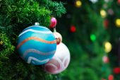 Photo of Closeup Christmas ball from Christmas tree — Stock Photo
