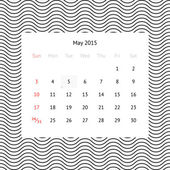 Calendar page for May 2015 — Stock Vector