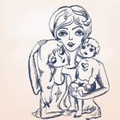 Matka a děti. — Stock vektor