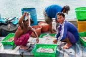 Thai fischer sortierung tag erfassen an baan aoyai salat fischerdorf auf der insel koh kood, thailand — Stockfoto