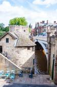 View over River Ouse and bridge in the city of York, UK.York is a historic walled city at the confluence of the Rivers Ouse and Foss in North Yorkshire, England — Stock Photo