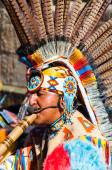 Native American Indian tribal group play music and sing on the street in historical city of York, England. — Stock Photo