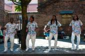 Street singers performing in historical city of York, England — Stock Photo