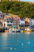 View over Scarborough South Bay harbor in North Yorskire, England — Stock Photo
