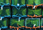 Closeup on Lobster pots on the dock, England — Stock Photo