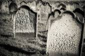 Tomb stones at Whitby cemetery during the night in North Yorkshire,UK. — Stock Photo
