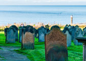 View of St Mary's Church and gravestones in North Yorkshire, UK — Стоковое фото