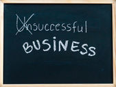 Successful business message turned from unsuccessful, handwritten with white chalk on wooden frame blackboard, successful business concept — Stock Photo