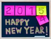 Šťastný nový rok 2015 zprávy ručně napsaný na tabuli, čísla uvedena na post-it ® notes, 2015 nahradí 2014, podnikové oslavy koncepce — Stock fotografie