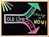 Change is now, handwriting with chalk on wooden frame blackboard, lifestyle change concept — Foto de Stock