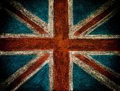 United Kingdom (British Union jack) flag, hand drawing with chalk on blackboard isolated on black background, vintage concept — Foto de Stock