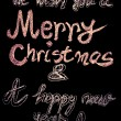 We wish you a Merry Christmas and a happy new year, hand writing with chalk on blackboard, vintage concept — 图库照片 #59638871