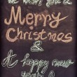 We wish you a Merry Christmas and a happy new year, hand writing with chalk on blackboard, vintage concept — ストック写真 #59639165