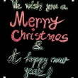 We wish you a Merry Christmas and a happy new year, hand writing with chalk on blackboard, vintage concept — 图库照片 #59639761