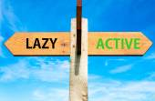 Wooden signpost with two opposite arrows over clear blue sky, Lazy versus Active messages, Healthy Lifestyle conceptual image — Stock Photo