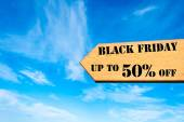 Arrow sign with Black Friday up to 50 percent off message — Φωτογραφία Αρχείου