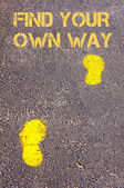 Yellow footsteps on sidewalk towards Find your own way message — Stock Photo