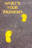 Yellow footsteps on sidewalk towards Whats your passion message — Stock Photo