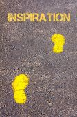 Yellow footsteps on sidewalk towards Innovation message — Stock Photo