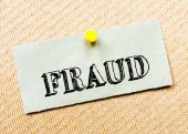 Recycled paper note pinned on cork board. Fraud Message. Concept Image — Stock Photo