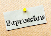 Recycled paper note pinned on cork board. Depression Message — Stock Photo