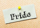 Recycled paper note pinned on cork board. Pride Message — Stock Photo