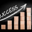 Word Success on ascending arrow above bar graph — Stock Photo #69332611
