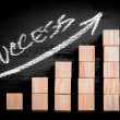 Word Success on ascending arrow above bar graph — Stock Photo #69332649