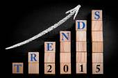 Message TRENDS 2015 on ascending arrow above bar graph — Stock Photo