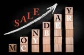 Message CYBER MONDAY SALE on ascending arrow above bar graph — Stock Photo
