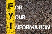 Business akronym Fyi - för din Information — Stockfoto
