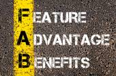 Business Acronym FAB - Feature Advantage Benefits — Stock Photo