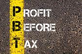 Business Acronym PBT - Profit Before Tax — 图库照片