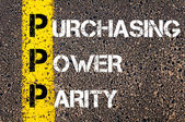 Business Acronym PPP - Purchasing power parity — Stock Photo