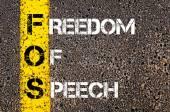 Förkortningen Fos som yttrandefrihet — Stockfoto