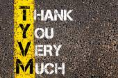 Business Acronym TYVM as Thank You Very Much — Stock Photo