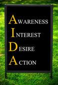 İş kısaltma Aida farkındalık faiz arzu eylem olarak — Stok fotoğraf