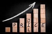 原油価格昇順矢印下のバー グラフに書かれた言葉します。 — ストック写真