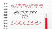 Happiness is the Key to Success written on notebook page — Стоковое фото