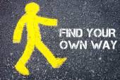 Pedestrian figure walking towards FIND YOUR OWN WAY — Stock Photo