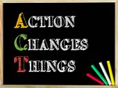 Acronym ACT as Action Changes Things — Стоковое фото