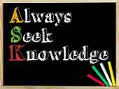 Acronimo di chiedere come sempre cercare la conoscenza — Foto Stock